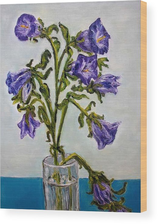 Flower Wood Print featuring the painting Flower Bluebells original oil painting by Natalja Picugina