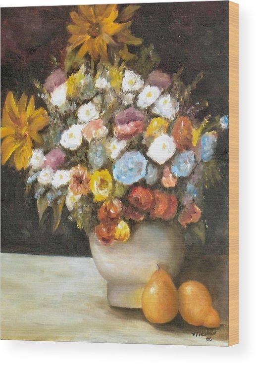Flowers Wood Print featuring the painting Flowers after Renoir by Merle Blair