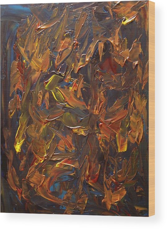Abstract Wood Print featuring the painting Focused and Fuming by Karen L Christophersen