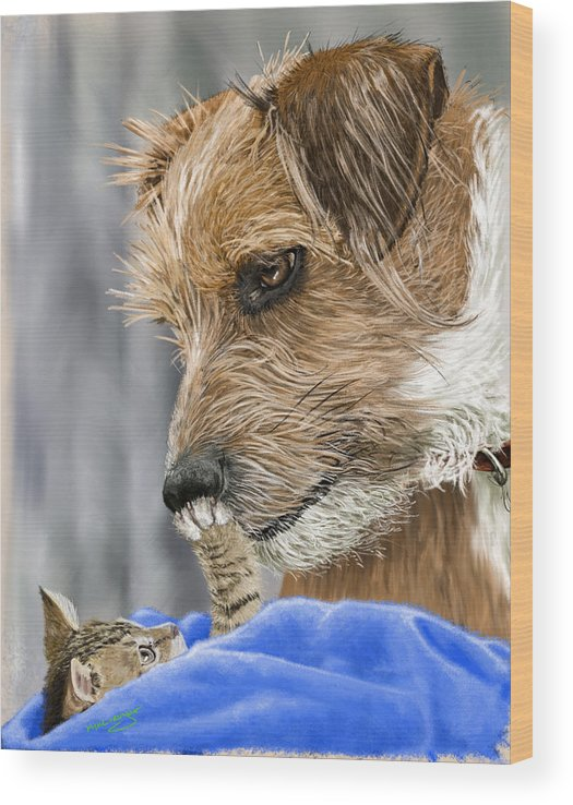 Dog Wood Print featuring the painting Friends of Norfolk Animal Care Center by Myke Irving