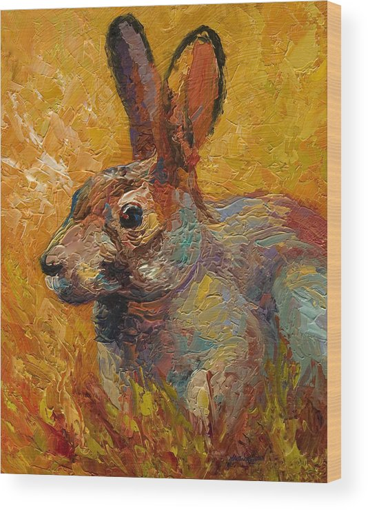 Rabbit Wood Print featuring the painting Forest Rabbit III by Marion Rose