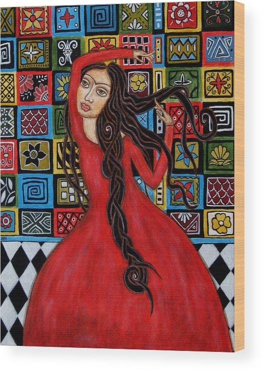 Frida Kahlo Paintings Wood Print featuring the painting Frida Kahlo Flamenco Dancing by Rain Ririn