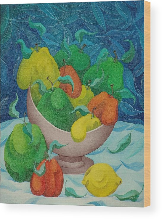 Sacha Circulism Circulismo Toothpick Paintings Wood Print featuring the painting Fruit Bowl with Blue Background 2006 by S A C H A - Circulism Technique