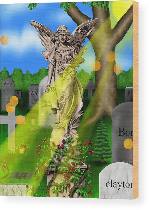 Surrealism Wood Print featuring the digital art Garden Landscape III a - Where The Dead Sleep by Robert Morin