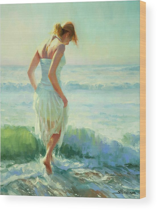 Seashore Wood Print featuring the painting Gathering Thoughts by Steve Henderson