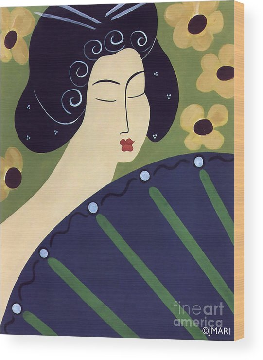 #japanese Wood Print featuring the painting Geisha Doll by Jacquelinemari