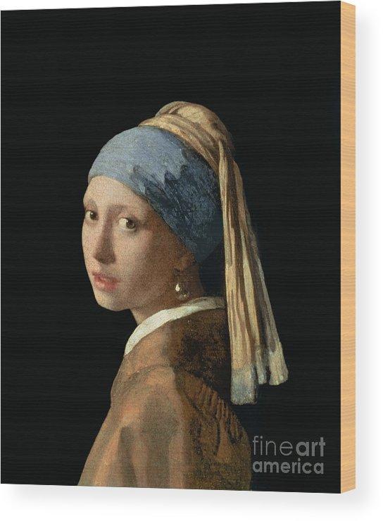 Jan Vermeer Wood Print featuring the painting Girl With A Pearl Earring by Jan Vermeer