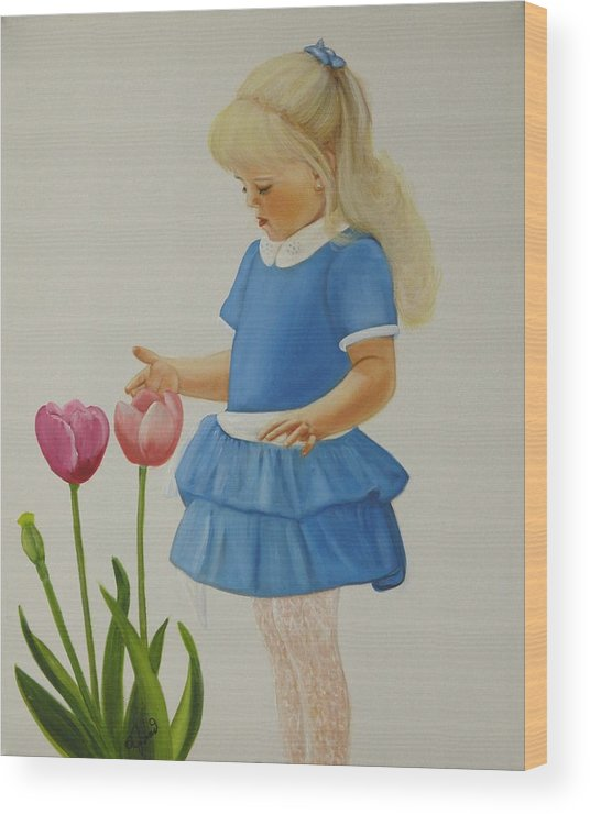 Portrait Wood Print featuring the painting Girl with Tulips by Joni McPherson