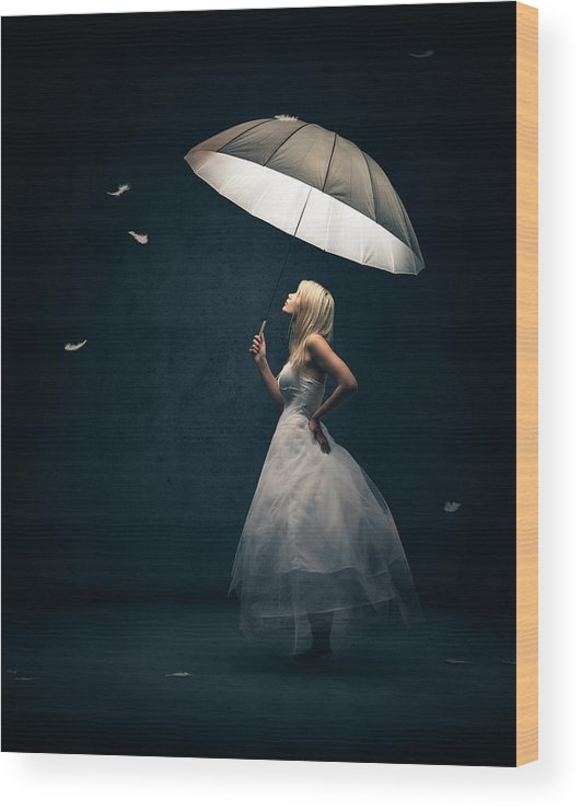 Girl Wood Print featuring the photograph Girl with umbrella and falling feathers by Johan Swanepoel