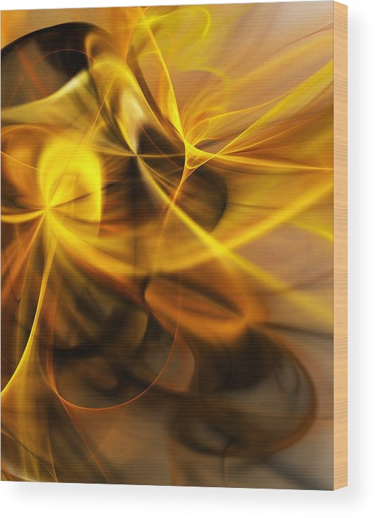 Fractal Wood Print featuring the digital art Gold and Shadows by David Lane