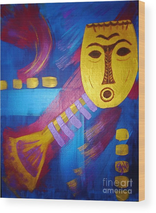 Mask Wood Print featuring the painting Gold Mask on Blue by Sheila J Hall
