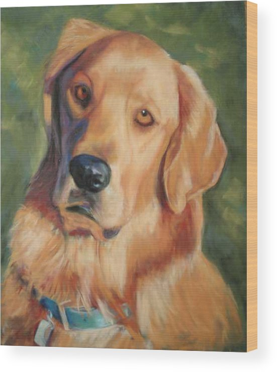 Golden Retriever Wood Print featuring the painting Golden Boy by Billie Colson