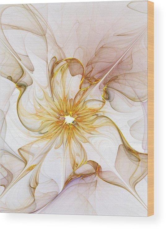 Digital Art Wood Print featuring the digital art Golden Glow by Amanda Moore