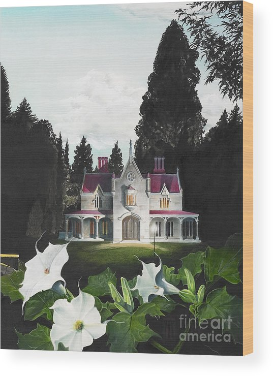 Fantasy Wood Print featuring the painting Gothic Country House detail from Night Bridge by Melissa A Benson
