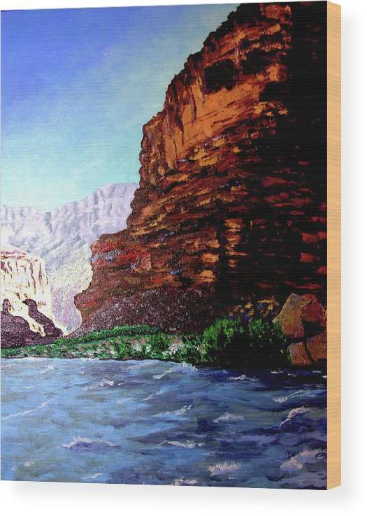 Oiriginal Oil On Canvas Wood Print featuring the painting Grand Canyon II by Stan Hamilton