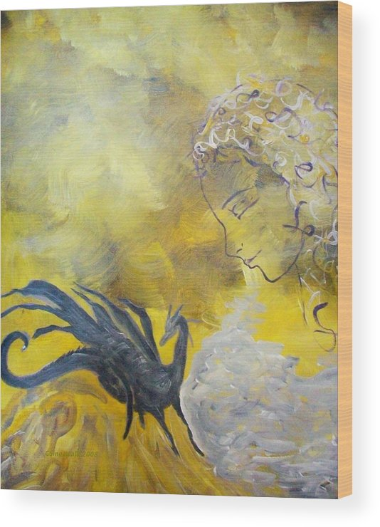 Mystical Wood Print featuring the painting Guardian by Cary Singewald