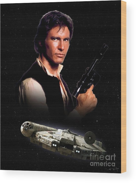 Han Wood Print featuring the painting Han Solo by Paul Tagliamonte