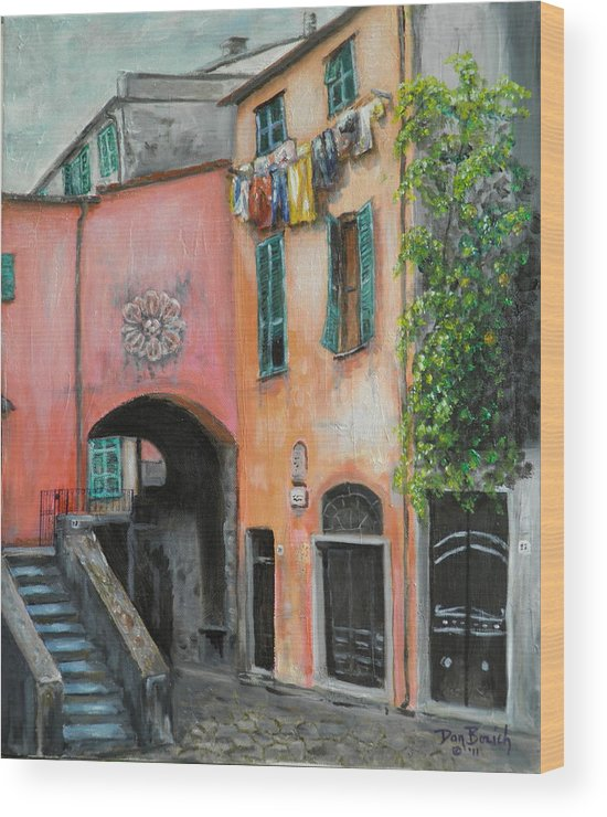 Cityscape Wood Print featuring the painting Hanging Out in Monterosso al Mare by Dan Bozich
