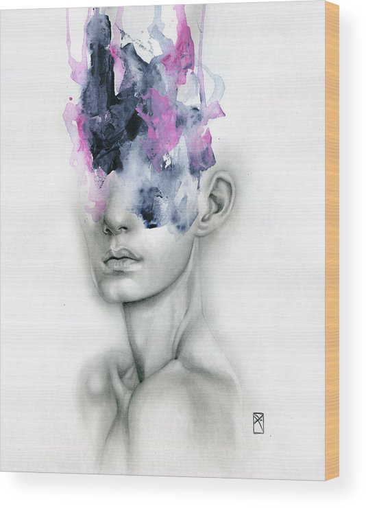 Portrait Wood Print featuring the painting Harbinger by Patricia Ariel