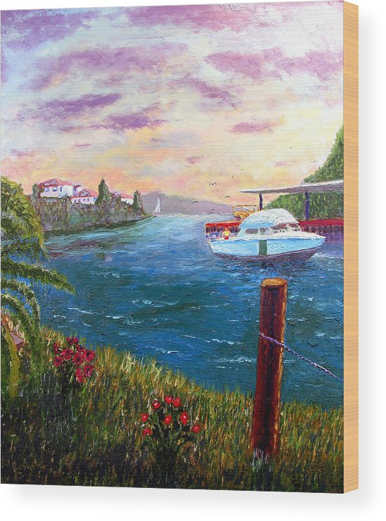 Original Oil On Wood Panel Wood Print featuring the painting Harbor by Stan Hamilton
