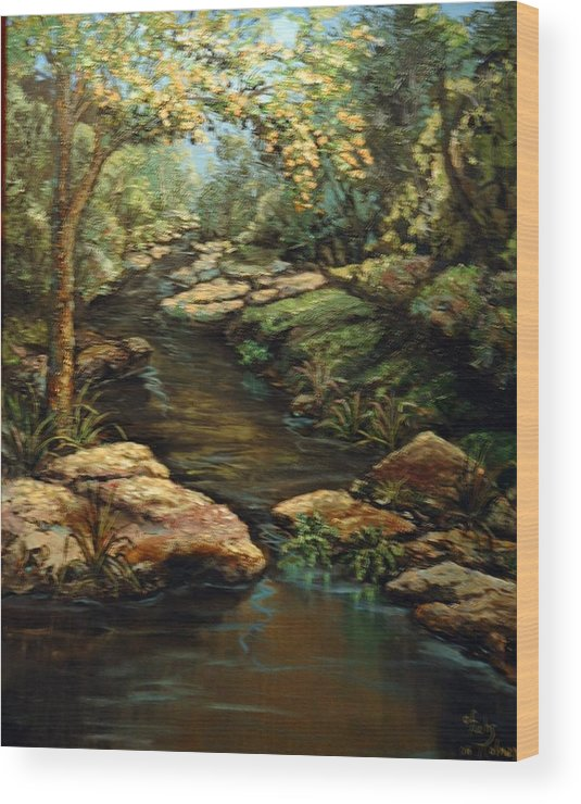 Landscape Wood Print featuring the painting Harvey's Creek by Cathy Fuchs-Holman
