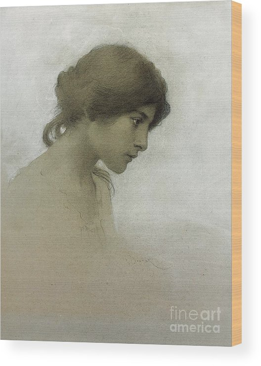 Head Of A Girl Wood Print featuring the drawing Head of a Girl by Franz Dvorak