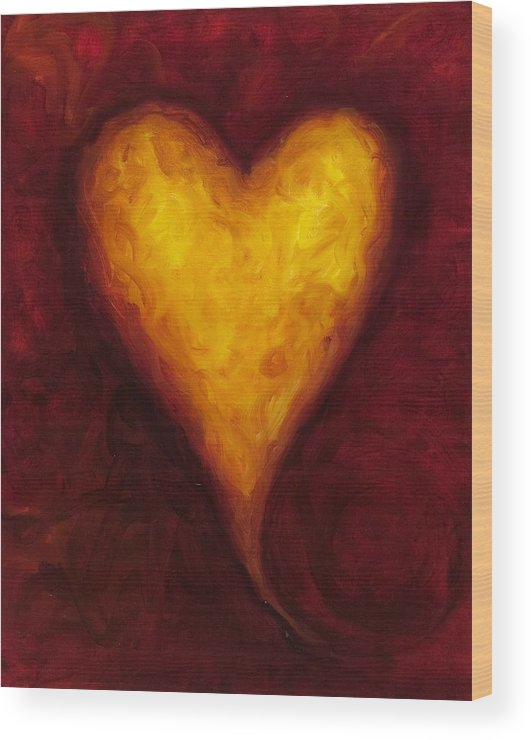 Heart Wood Print featuring the painting Heart of Gold 1 by Shannon Grissom