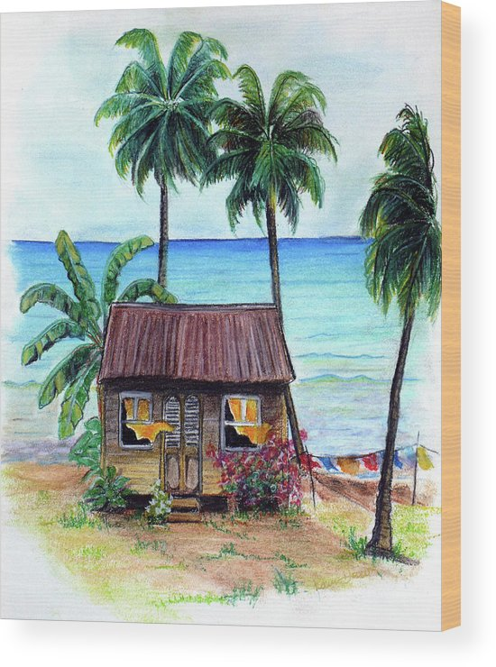 Beach Wood Print featuring the pastel Heavenly by Karin Dawn Kelshall- Best