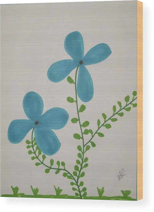 Flowers Wood Print featuring the drawing Hi by Nicholas A Roes