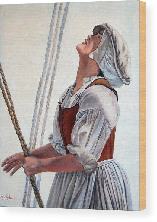 Portrait Wood Print featuring the painting Hoisting Sails by Anne Kushnick