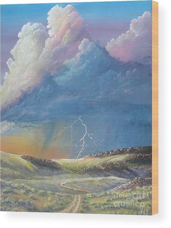 Monsoon Wood Print featuring the painting Horsewater by John Wise