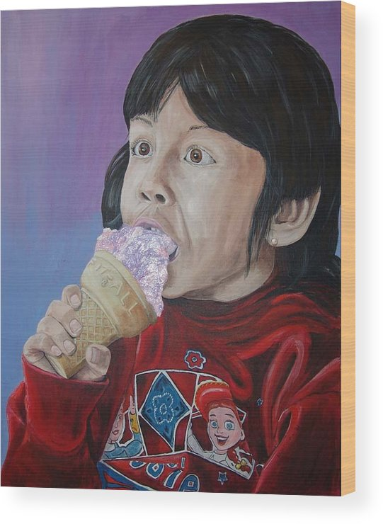 Kevin Callahan Wood Print featuring the painting Ice Cream by Kevin Callahan