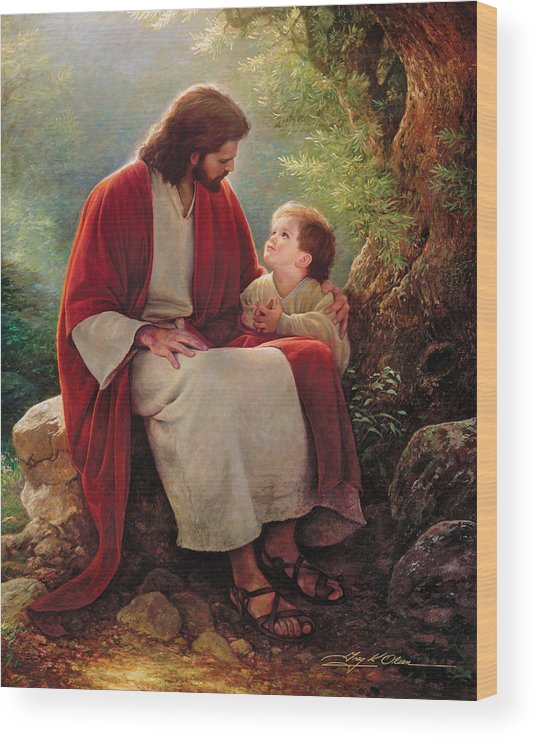 Jesus Wood Print featuring the painting In His Light by Greg Olsen