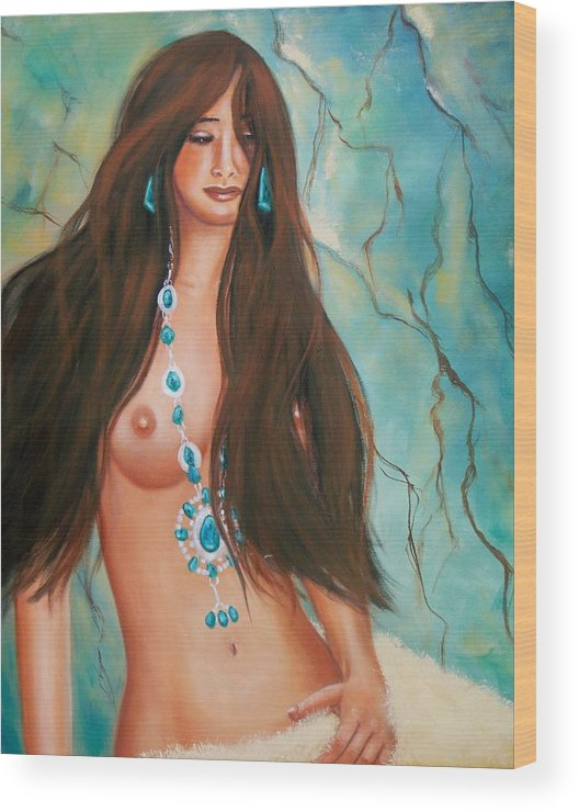 Portrait Wood Print featuring the painting Indian Maiden in Turquoise by Joni McPherson