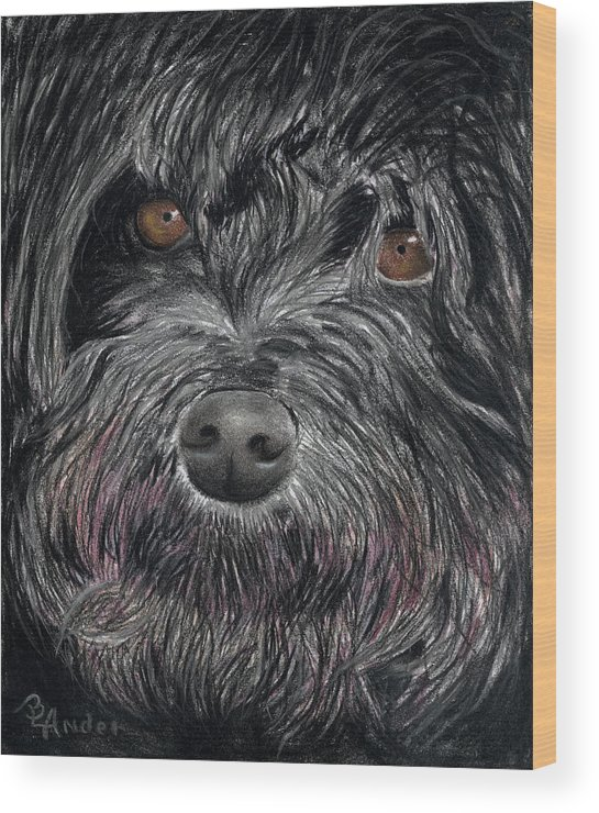 Dog Wood Print featuring the drawing Is that a Smile by Brent Ander