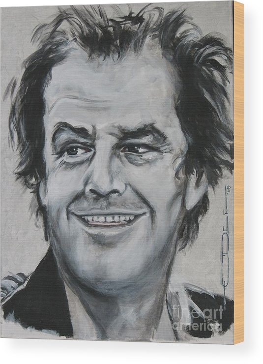 Jack Nicholson Wood Print featuring the painting Jack Nicholson by Eric Dee