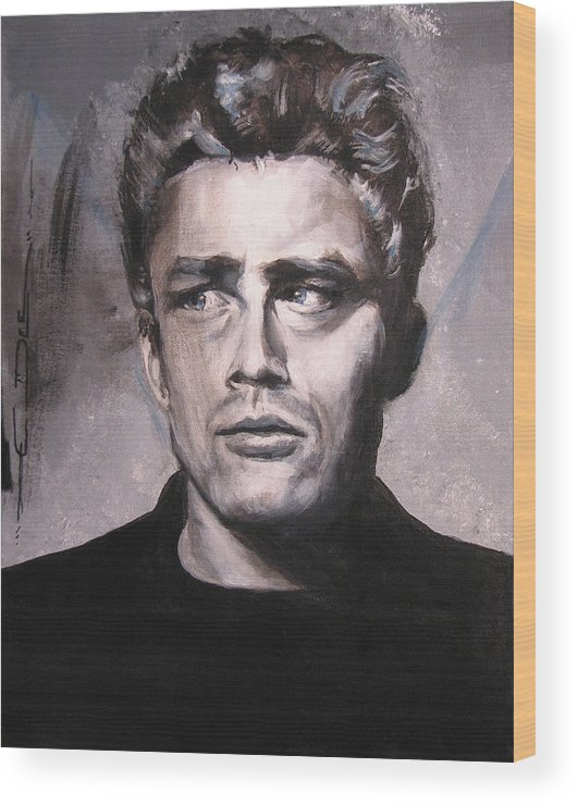 James Dean Wood Print featuring the painting James Dean two by Eric Dee