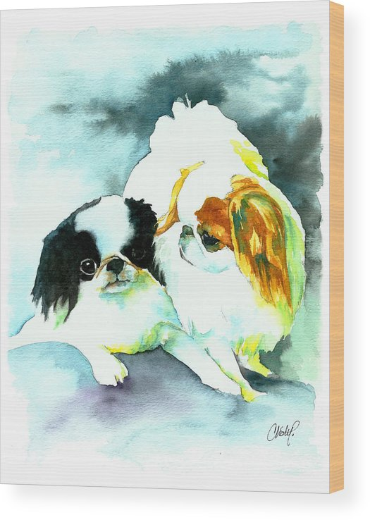 Dog Art Wood Print featuring the painting Japanese Chin Dog by Christy Freeman Stark