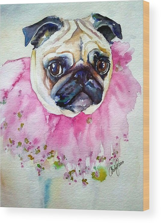 Pug Wood Print featuring the painting Jester Pug by Christy Freeman Stark