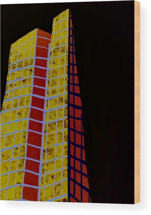 Emarc Wood Print featuring the painting John Hancock Building by Sean Cusack