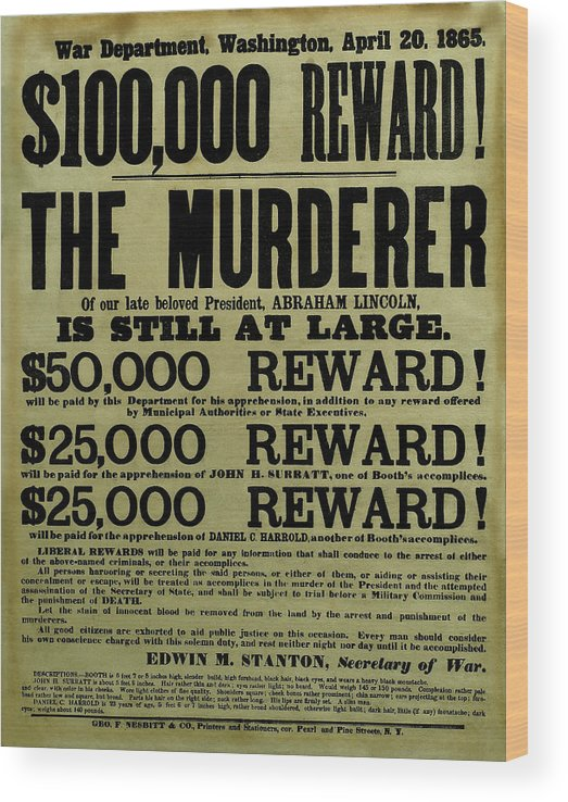 Wanted Wood Print featuring the mixed media John Wilkes Booth Wanted Poster by War Is Hell Store