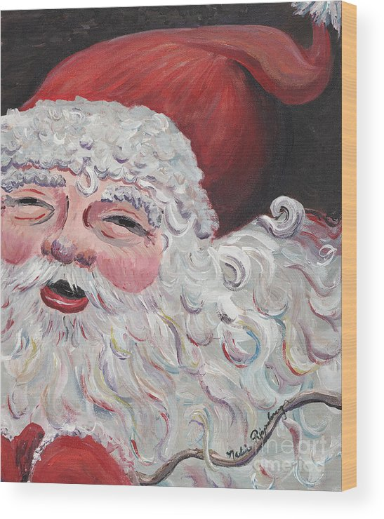 Santa Wood Print featuring the painting Jolly Santa by Nadine Rippelmeyer