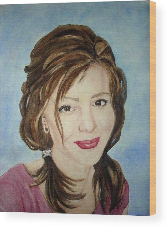 Artist Wood Print featuring the painting Kerra Lindsey Self Portrait by Kerra Lindsey