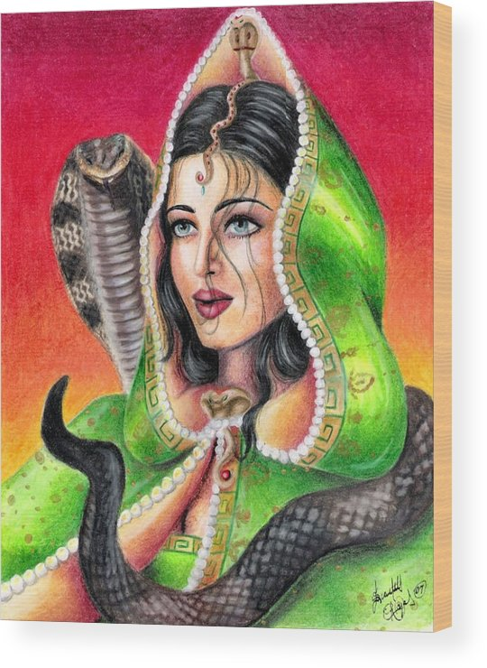 Woman Wood Print featuring the drawing King Cobra by Scarlett Royal