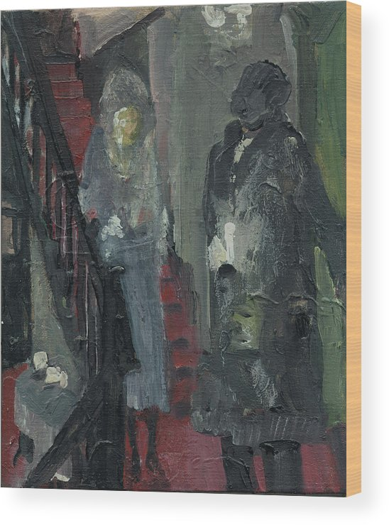 Figure Wood Print featuring the painting LaBoheme Act 1 Stairway by Bill Collins