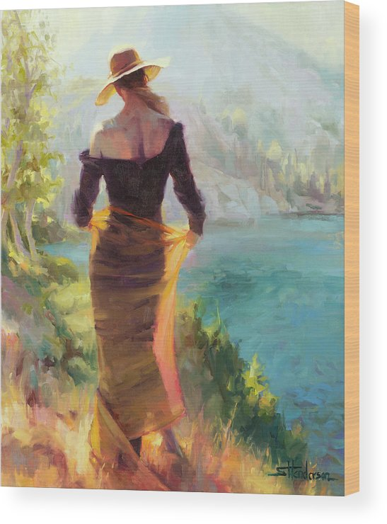 Woman Wood Print featuring the painting Lady of the Lake by Steve Henderson