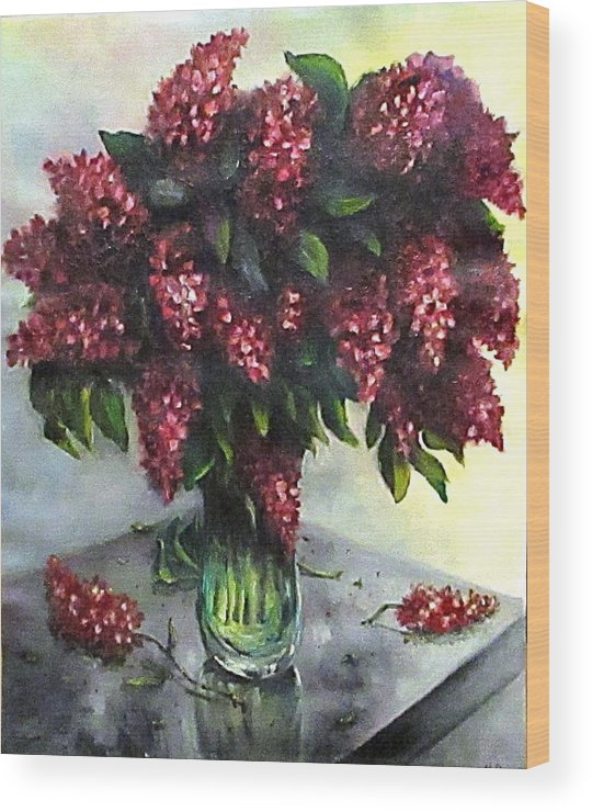 Lilac Wood Print featuring the painting Lilac original flower painting by Natalja Picugina