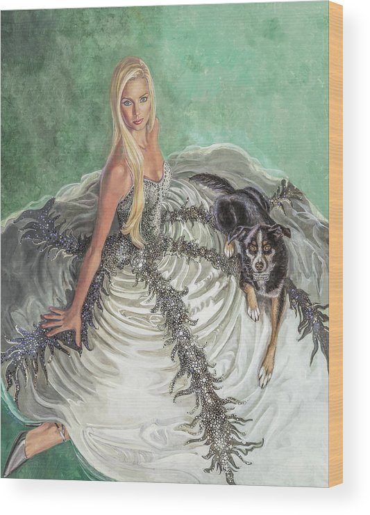 Fashion Illustration Wood Print featuring the painting Lily Pad by Barbara Tyler Ahlfield