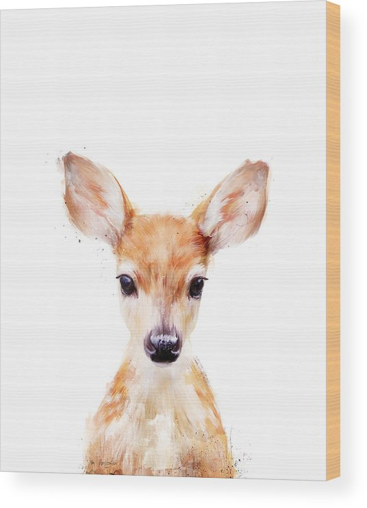 Fawn Wood Print featuring the painting Little Deer by Amy Hamilton