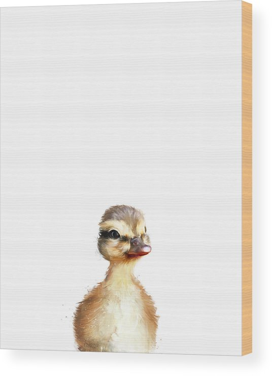 Duck Wood Print featuring the painting Little Duck by Amy Hamilton